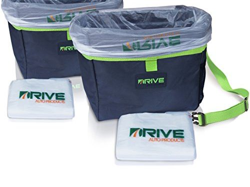 Hanging Recycle Kit is Universal & Waterproof, Versatile Drink Cooler or Road Trip Bundle – Drive Auto Products Car Trash Can, Green 2-Pack Best Garbage Bag for Litter, Free Waste Basket Liners