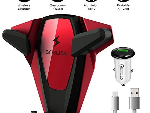 Wireless Car Charger, BOSLISA X-Man Wireless Fast Charger Car Mount, Air Vent Phone Holder, Compatible iPhone XS MAX/XR/XS/X/8/8 Plus Samsung Galaxy S9/8/7/Note 8/9 and All Qi-Enabled Phones Red