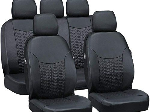 Big Ant Car Seat Covers, Leatherette Seat Covers Breathable Full Set Waterproof Front Back Cover with 5 Detachable Headrests – Fit Most Car, Truck, SUV, or Van Black