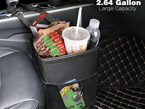 PowerTiger Car Garbage Cans Bag with Lid & 3 Mesh Storage Pockets 2.64 Gallon – Hanging Car Trash Can Bin