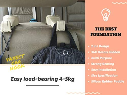 VACEXT 2018 Universal Car Back Seat Headrest Hanger Holder Hooks for Bag Purse Cloth Grocery with Phone Holder Universal Vehicle Car Seat Back Hooks Car Headrest Hook Car Seat Headrest Beige