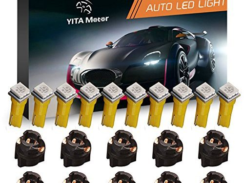 YITAMOTOR 10 Pack Yellow T5 Wedge 73 74 led 5050 1-SMD Instrument Panel Gauge Cluster Dashboard LED Light Bulbs & 10 Twist Lock Socket