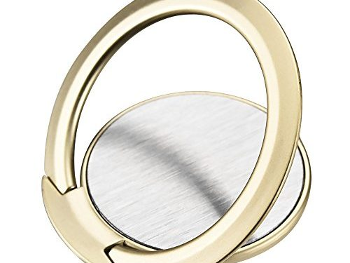 Icarerease Phone Ring Stand,Ultra Slim 360° Rotation Finger Grip Ring Holder Work Well with Car Magnetic Mount for iPhone Samsung Galaxy Gold