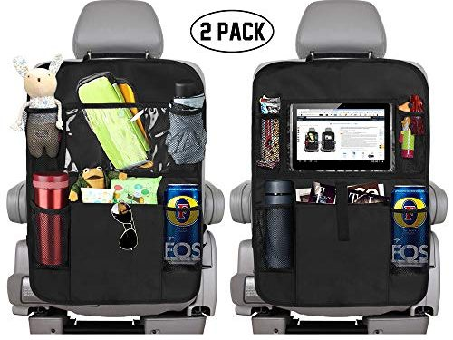 KNGUVTH Backseat Car Organizer Kick Mats, Car Seat Back Protectors with Clear 10″ Tablet Holder + 5 Storage Pockets Back seat Organizer for Kids Toy Bottle Drink Vehicles Travel Accessories 2 Pack