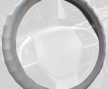 BDK SW-899-SG Genuine Leather Car Steering Wheel Cover 13.5″-14.5″ Small/Gray – Universal Fit, Easy Installation