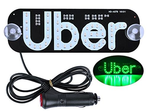 AutoEC Uber LED Sign Decor, Uber Flashing Hook on Car Window with DC12V Car Charger Inverter Green