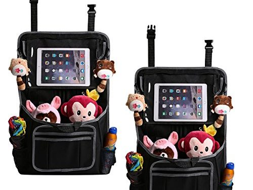 GEMITTO Kick Mats Car Back Seat Organizer Protector Multi-Purpose Tablet iPad Holder Baby Accessories Kids Toys Travel Storage Bag