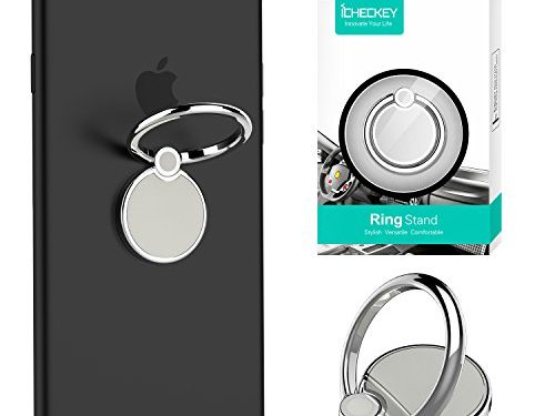 ICHECKEY Cell Phone Ring Stand Holder Universal Smartphone Finger Ring Mount 360° Adjustable Grip Kickstand for iPhone 7 7 Plus 6S 6, Samsung Galaxy S8 S8 Plus and Most Mobile Phone and Case Silver