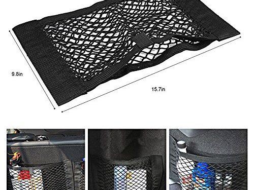 DYYLIA Trunk Storage Net – Universal Car Seat Back Storage Elastic Mesh Net Bag Luggage Holder Pocket Sticker Trunk Organizer,Driver Storage Netting Pouch1 Pack