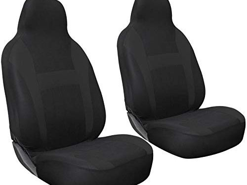 Motorup America Auto Seat Cover 2pc Set Intergrated High Back Buckets – Solid Black – Fits Select Vehicles Car Truck Van SUV