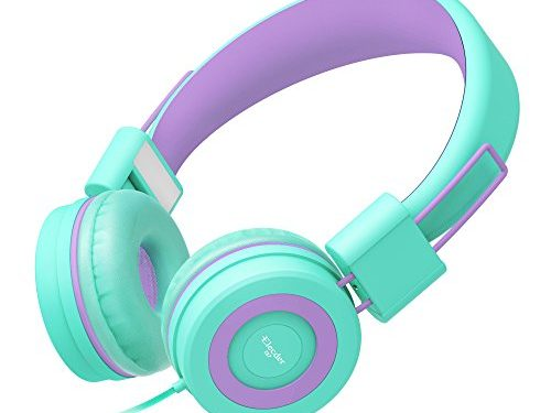 Elecder i37 Kids Headphones for Children, Girls, Boys, Teens, Adults, Foldable Adjustable Over Ear Headsets with 3.5mm Jack for iPad Cellphones Computer MP3/4 Kindle Airplane SchoolGreen/Purple