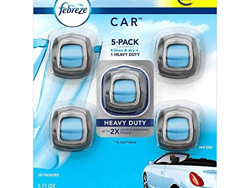 up to 150 Days – Febreze Car Air Freshener, Set of 5 Clips, Linen & Sky