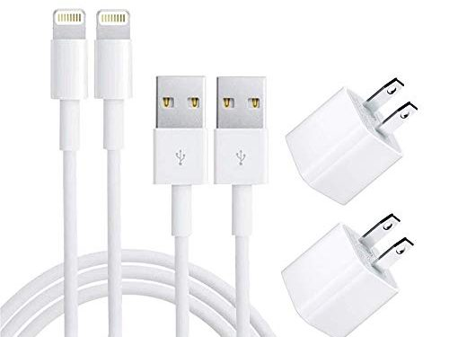 iPhone Charger, Lightning Cable with Charger Adapter, iPhone Charger USB Data Charge Sync Cable Compatible with iPhone X/8/7/6S/6/Plus/SE/5S/5C/XS/XR/XS Max,iPod,iPad2-Pack