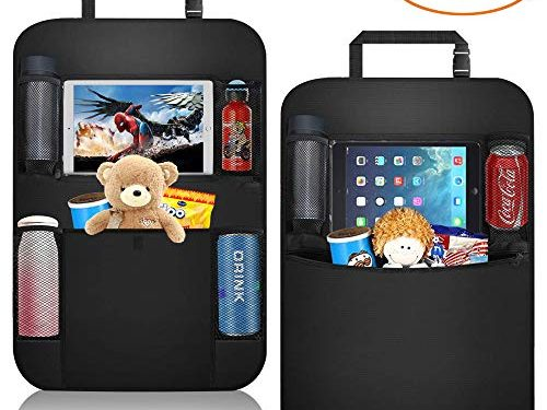 Car Organizer Back Seat+ Car Back Seat Protector + Waterproof Kick Mat,Clear Touch Screen Tablet Holder for Kid/Travel with Multi Pocket ,Car Seat Organizer,Back of Seat Storage with 2 PackBlack