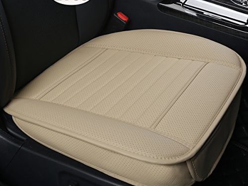 EDEALYN 2PCS PU leather Seat Covers Auto Seat Protector Car Seat Covers for Front Seat with Side flaps,Deep20 inch × Width20 inch × Thick 0.4 inch Beige-2 PCS