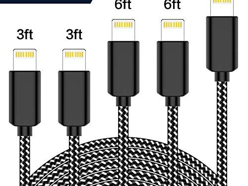 TNSO MFi Certified Phone Cable 5 Pack 3/3/6/6/10FT Extra Long Nylon Braided USB Charging & Syncing Cord Compatible iPhone Charger X/8/8Plus/7/7Plus/6S/6S Plus/SE/iPad/Nan Black and White