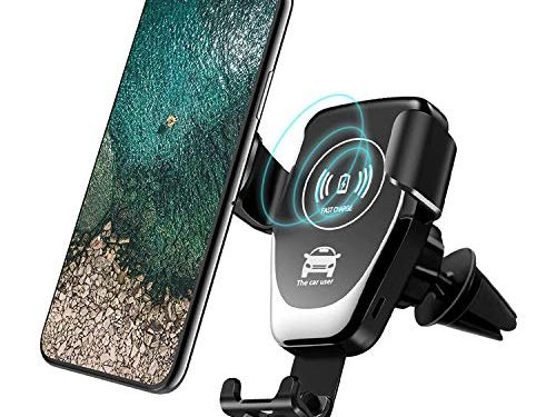 Wireless Car Charger,Fast Charger Car Mount Air Vent Gravity Phone Holder for iPhone X/8/8 Plus, Samsung Galaxy NoteS9 8/S 8/S 8+/S 7/S 6 Edge+/Note 5 and Most Qi Enable Devices Black