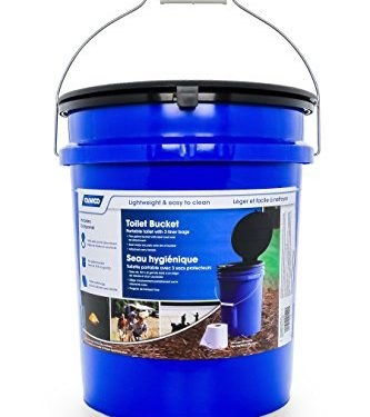 Holds 5 Gallons, Lightweight and Easy to Clean, Great for Camping, Hiking and Hunting and More – Camco 41549 Portable Toilet Bucket with Seat and Lid Attachment