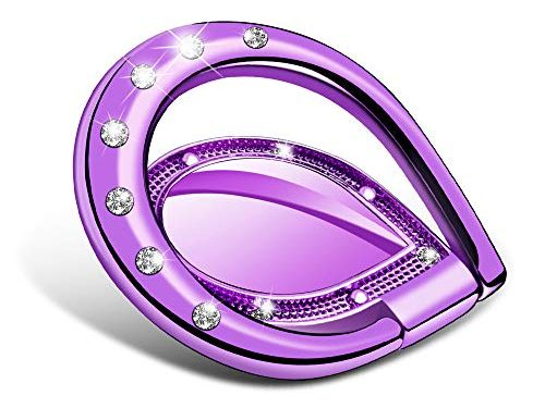 VEGO Phone Ring Holder Grip,Rhinestone 360 Degree Rotation Phone Ring Grip Compatible with iPhone Xs Max XR 8 7 6 Plus Samsung Galaxy Note 9 8 S9 S9 Purple