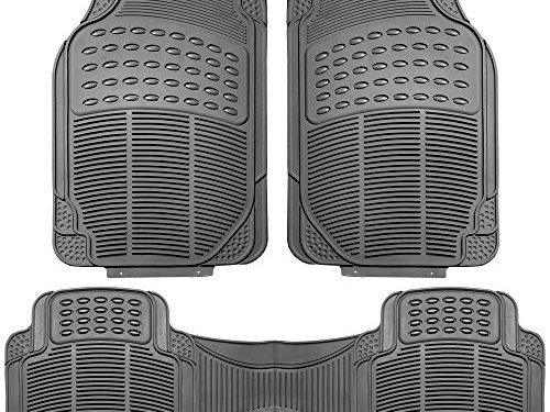 FH Group F11306GRAY Gray All Weather Floor Mat, 3 Piece Full Set Trimmable Heavy Duty