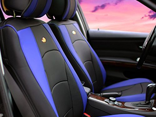 FH Group PU205BLUEBLACK102 PU205102 Ultra Comfort Leatherette Front Seat Cushions Airbag Compatible Blue and Black