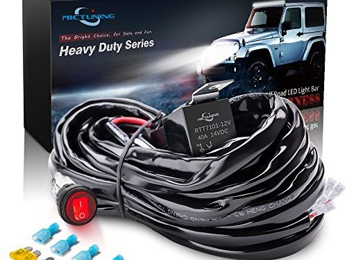 MICTUNING HD 300w LED Light Bar Wiring Harness Fuse 40Amp Relay ON-OFF Waterproof Switch2Lead
