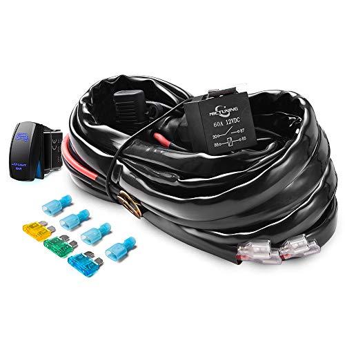mictuning hd+ 12 gauge 600w led light bar wiring harness kit w/ 60amp  relay, 3 free fuse, rocker switch blue2 lead