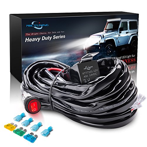 MICTUNING HD 300w LED Light Bar Wiring Harness Fuse 40Amp Relay ON on