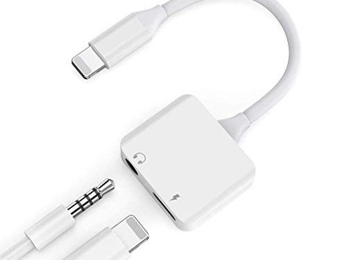 AUX Audio for iphone7 Adapter for iPhone 8 Headphone Jack to 3.5mm Dongle Music and Charge Headset Earphone Convertor Connector Cable Flash Replacement for iPhone7/8 Support with ios11 or Later