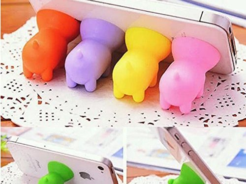 8 Pcs Colorful Universal Cute Mini Pig Shaped Silicone Rubber Cuction Cup Smart Phone Cellphone Stand Holder Mount for iPhone 7 6 6 plus 5C 5S 4S iPad Air Mini Tablet Samsung Galaxy S7 HTC one M8 M7 L