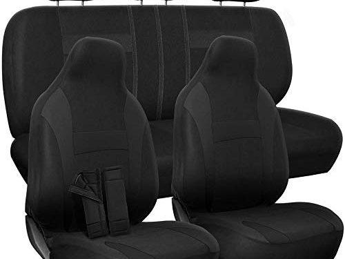 Fits Select Vehicles Car Truck Van SUV – Black – Motorup America Auto Seat Cover Full Set