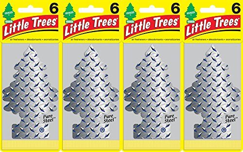 Little Trees Pure Steel Air Freshener, Pack of 24