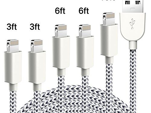 TNSO Phone Charger 5Pack 3/3/6/6/10FT MFi Certified Nylon Braided USB Charging & Syncing Cord Compatible iPhone X/8/8 Plus/7/7 Plus/6s/6s Plus/SE/iPad iPod Nano
