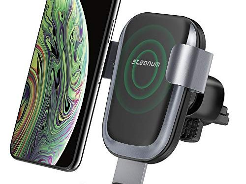 Wireless Car Charger,Steanum Car Fast Wireless Charger Air Vent Car Mount Phone Holder Compatible for iPhone Xs Max/Xs/Xr/X/8/8+,Samsung Galaxy S9/S9+/S8/S8+/S7/S6 Edge/Note8/5 and More