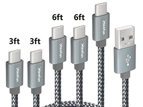 USB C Cable Durable Nylon Brained,5-Pack, 3ft 3ft 6ft 6ft 10ft Cleefun Fast Charge Type C Charger Charging Cord For Samsung Galaxy S8 S9 Plus S9+ Note 8, LG G7 G6 G5 V30 V20, Google Pixel 2 XlGray