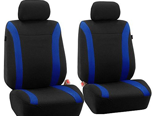 FH GROUP FH-FB054102 Blue Cosmopolitan Flat Cloth Seat Covers, Airbag compatible and Split Bench, Blue / Black Color-Fit Most Car, Truck, Suv, or Van