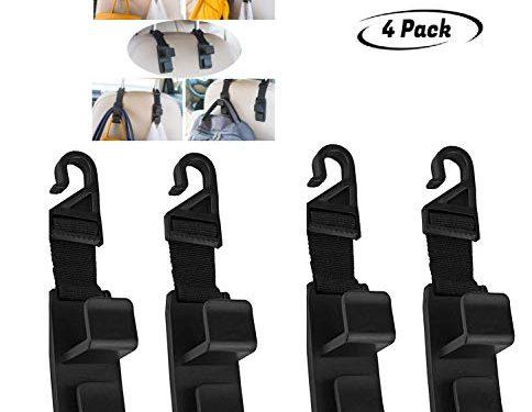 G1-Tech Car Seat Hooks, Back Seat Headrest Hanger Storage Hooks for Car-Handy for Purse,Backpack,Coat,Handbag Shopping Bags Thicker Straps Heavy Duty for Car, SUV, Truck, 4-Pack