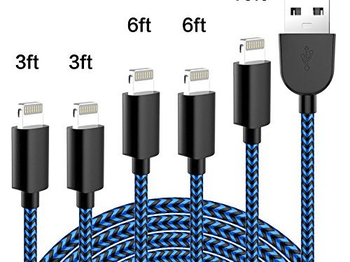 TNSO Phone Cable 5Pack 3/3/6/6/10FT Nylon Braided USB Charging & Syncing Cord Compatible iPhone X/8/8 Plus/7/7 Plus/6s/6s Plus/SE/iPad iPod Nano-Black and Blue