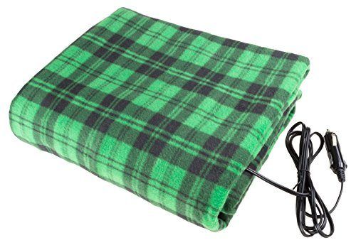 Electric Car Blanket- Heated 12 Volt Fleece Travel Throw for Car and RV-Great for Cold Weather, Tailgating, and Emergency Kits by Stalwart-GREEN/BLACK