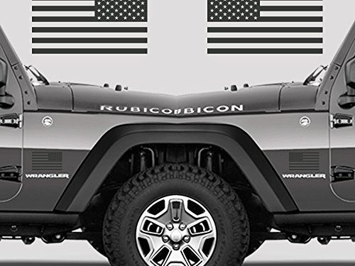 Subdued American Flags Tactical Military Flag USA Decal Jeep 5″x3″ Glossy Dark Grey