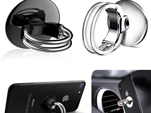 Cell Phone Ring Stand Holder,Unique Double Finger Ring Buckle Design for Air Vent Car Phone Mount with 360°Rotation,180°Flip and Strong Sticky Gel Pad for Smart Phone