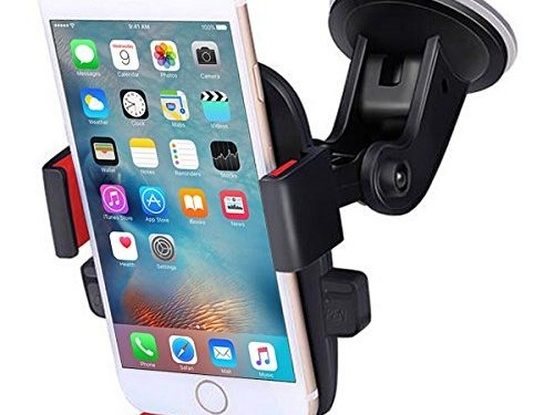 TKONG Car Mount Phone Holder Suction on Windshield 360 Degrees Rotation Freely Adjustable for iPhone X/8/7/6 Plus Samsung Galaxy S8/S7 and More CellphoneRed