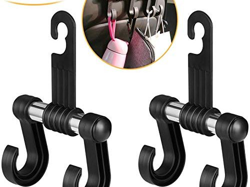 Car-Seat-Headrest-Hooks, Set of 2 Preyda Headrest Hangers Hold Grocery Shopping Bags, Coats, Purses, Baby Supplies for Cars, Jeeps, SUVs, Trucks and More, Black Car Headrest Hooks