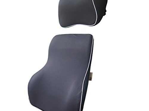 Ergonomically Design Universal Fit Major Car Seat – LoveHome Lumbar Support Cushion For Car And Headrest Neck Pillow Kit – Black