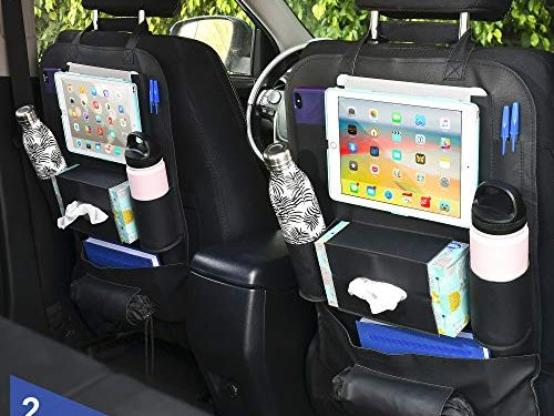 ZODDOS Car Seat Back Organizer. Premium Vegan Leather 100% Durable and Waterproof. Black Pack of 2. Perfect for use as Car Organizer, iPad Holder, Seat Protector, Kick Mat. Holds All Major Tablets
