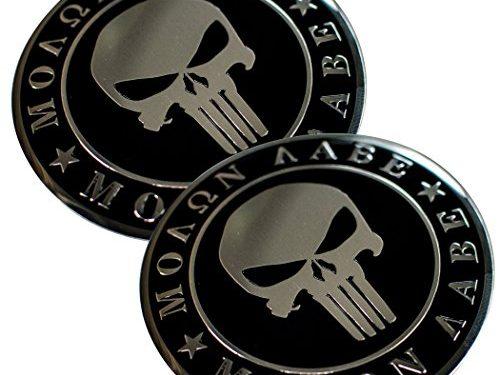 ALUMINUM 2nd Amendment Decal Sticker Bumper Molon Labe Right To Bear Arms NRA Molon Labe Dome Shape 2 Pack