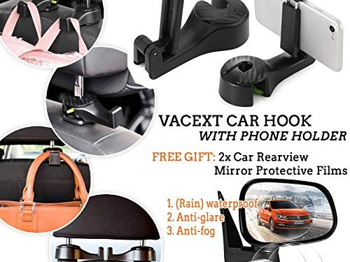 VACEXT Car Hooks with Phone Holder, Car Seat Back Hooks, Universal Vehicle Car Headrest Hooks Hanger & Car Rainproof Rearview Mirror Protective Film Anti-Fog Anti-Glare Anti-Scratch Protective Film