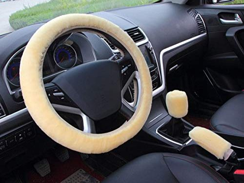 acdiac 3pcs Plush Car Steering Wheel Covers Winter Faux Wool Hand Brake & Gear Cover Set Car Seat Cover Interior Accessories-38cm Beige