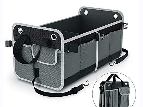 Balight Trunk Organizer for SUV Car, Heavy Duty Waterproof Nonslip with Handles and Straps Premium 26 inch Divisible Multi-compartments Cargo/Groceries Storage Box for Truck/Sedan, Large, Collapsible