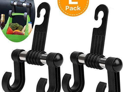 HOOKPLUS Car-Purse-Hook,Headrest Hooks,Set 2 Car Organizer Purse Holder Storage Hooks Hang Bags,Coats or Groceries